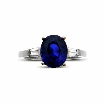Sapphire & Tapered Baguette Cut Diamond Ring 2.00ct